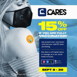 Present your fully accomplished vaccination card and get 15% off!